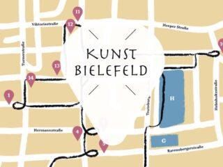 Abendspaziergang mit Open Air Kunst Ausstellung Bielefeld