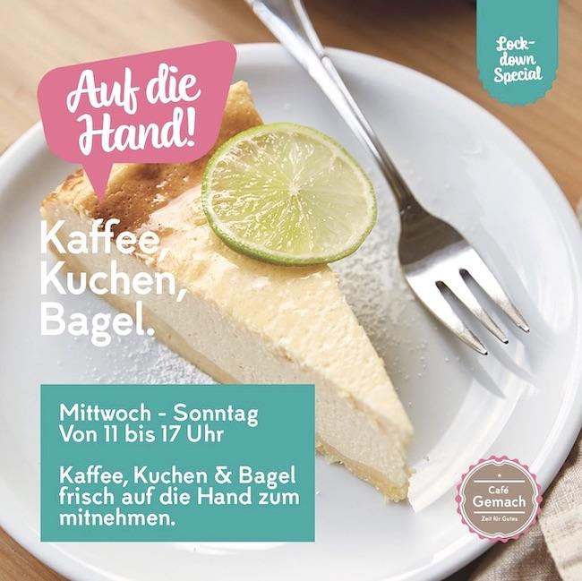 Kaffee, Kuchen, Bagel und Glühwein  To-Go  beim Café Gemach in Bielefeld